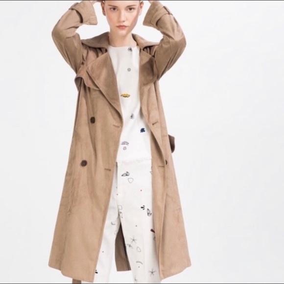 16aa365c33fd Zara Jackets & Coats   Buy1get1free Brown Faux Suede Trench Coat ...